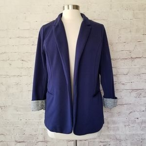 Skies are Blue Navy Knit Open Front Blazer